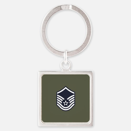 USAF: MSgt E-7 (Green) Square Keychain