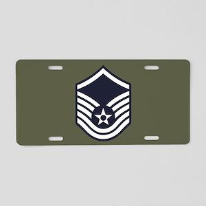 USAF: MSgt E-7 (Green) Aluminum License Plate