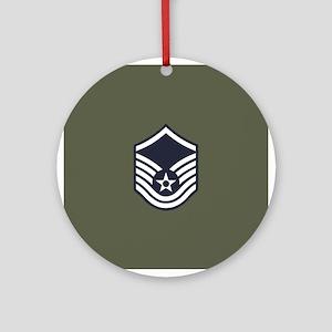 USAF: MSgt E-7 (Green) Round Ornament