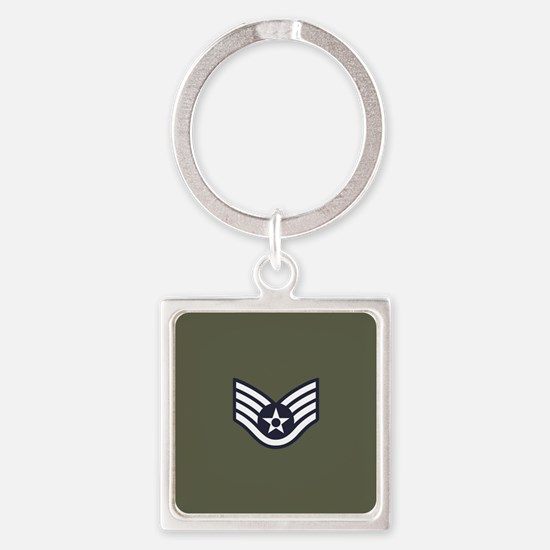 USAF: SSgt E-5 (Green) Square Keychain