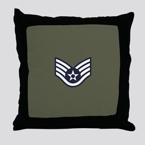 USAF: SSgt E-5 (Green) Throw Pillow