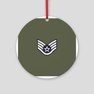USAF: SSgt E-5 (Green) Round Ornament