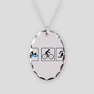 triathlon Necklace Oval Charm