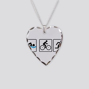triathlon Necklace Heart Charm