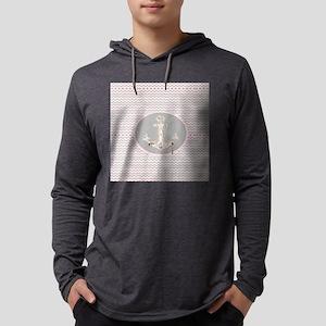 modern pink grey zig zag patte Long Sleeve T-Shirt