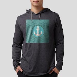nautical anchor teal damask be Long Sleeve T-Shirt