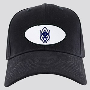 USAF: CMSgt E-9 (White) Black Cap with Patch