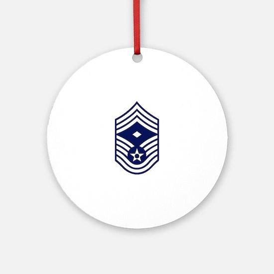 USAF: CMSgt E-9 (White) Round Ornament