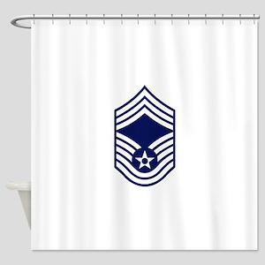 USAF: CMSgt E-9 (White) Shower Curtain