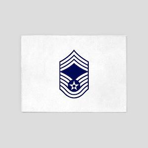 USAF: CMSgt E-9 (White) 5'x7'Area Rug