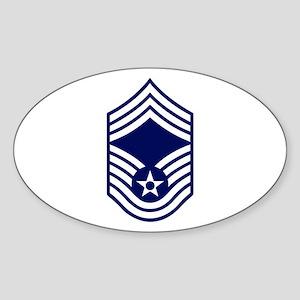 USAF: CMSgt E-9 (White) Sticker (Oval)