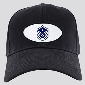 USAF: MSgt E-7 (White) Black Cap with Patch