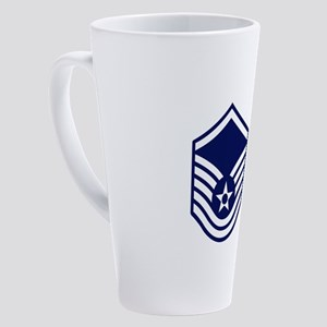 USAF: MSgt E-7 (White) 17 oz Latte Mug