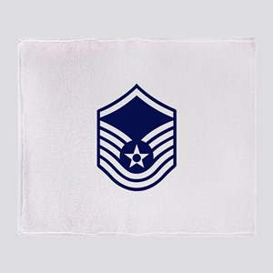 USAF: MSgt E-7 (White) Throw Blanket