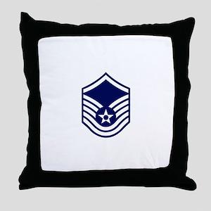 USAF: MSgt E-7 (White) Throw Pillow