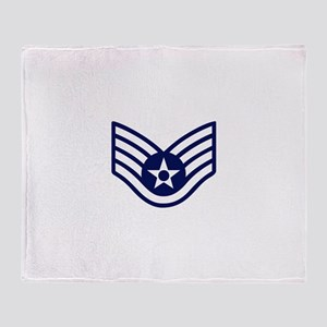 USAF: SSgt E-5 (White) Throw Blanket