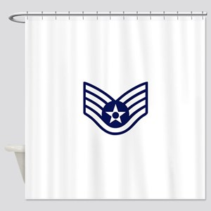 USAF: SSgt E-5 (White) Shower Curtain