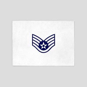 USAF: SSgt E-5 (White) 5'x7'Area Rug