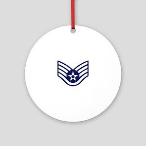 USAF: SSgt E-5 (White) Round Ornament