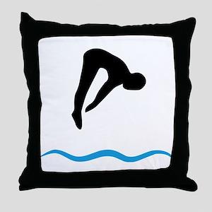 springboard diving Throw Pillow