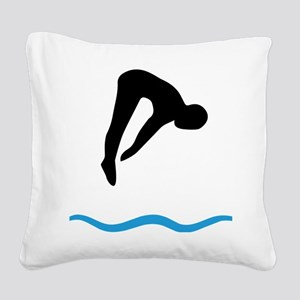 springboard diving Square Canvas Pillow