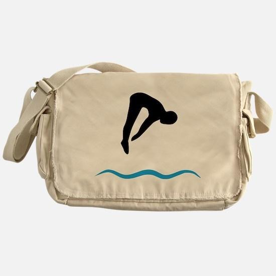 springboard diving Messenger Bag