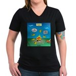 Underwater Campfire Women's V-Neck Dark T-Shirt