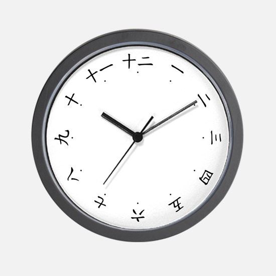 Clock Numbered in Chinese and Japanese Characters