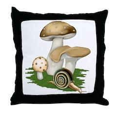 Snail in Mushroom Garden Throw Pillow