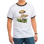 Snail in Mushroom Garden Ringer T