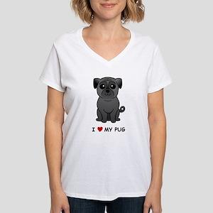 Black Pug Women's V-Neck T-Shirt