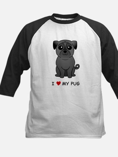 Black Pug Kids Baseball Jersey