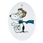 Crazy Dog Oval Ornament