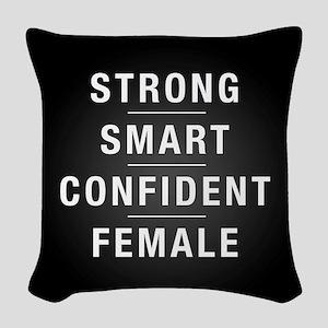 Strong Smart Confident Female Woven Throw Pillow