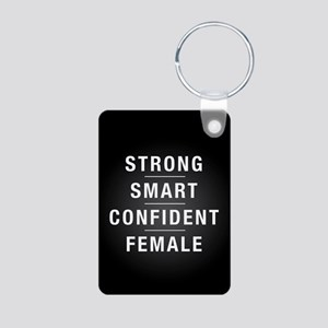Strong Smart Confident Fem Aluminum Photo Keychain