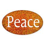 Orange Dots Peace Oval Bumper Sticker
