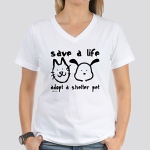 Save a Life - Adopt a Shelter Pet Women's V-Neck T