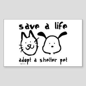 Save a Life - Adopt a Shelter Pet Sticker (Rectang
