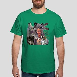 Spirit Brothers Native American Wolve Dark T-Shirt