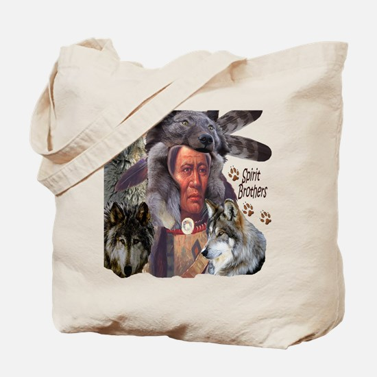 Spirit Brothers Native American Wolves Tote Bag