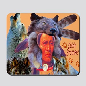 Spirit Brothers Native American Wolves Mousepad