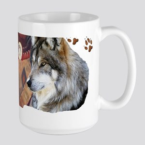 Spirit Brothers Native American Wolves Large Mug