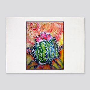 Colorful cactus, southwest desert art 5'x7'Area Ru