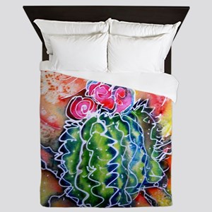 Colorful cactus, southwest desert art Queen Duvet