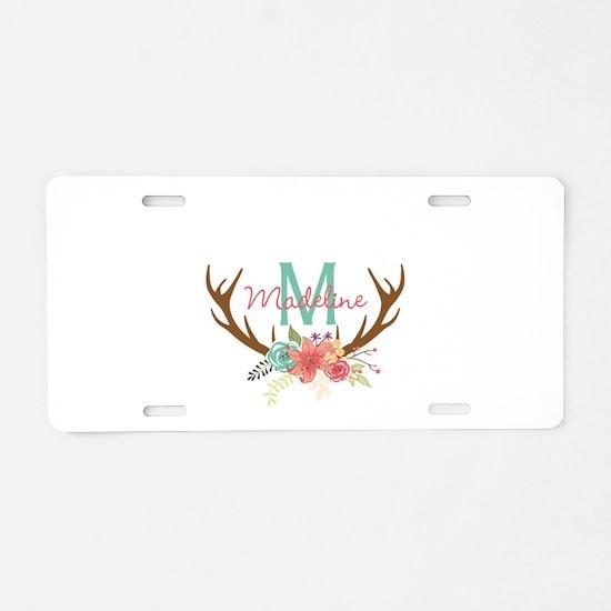Personalized Floral Antler Monogram Aluminum Licen