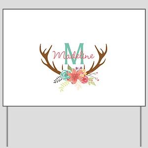 Personalized Floral Antler Monogram Yard Sign