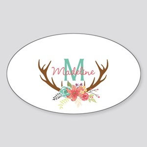 Personalized Floral Antler Monogram Sticker