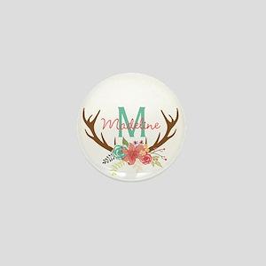 Personalized Floral Antler Monogram Mini Button (1