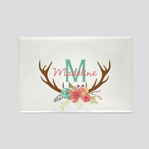 Personalized Floral Antler Monogram Magnets