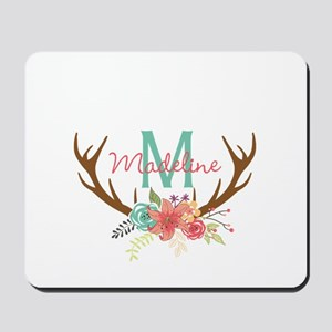 Personalized Floral Antler Monogram Mousepad